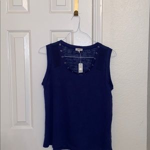 CLEARANCE: Blue tank top w/loop knot holes